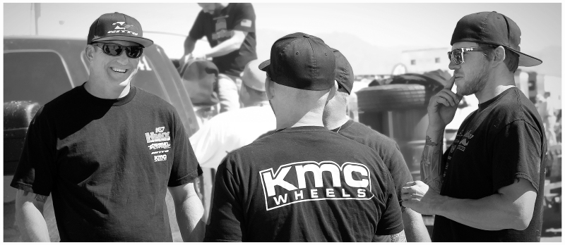 Loren Healy, Nick Nelson, and friends in the pits at The MINT 400.  (photo credit:  White Collar Publishing)
